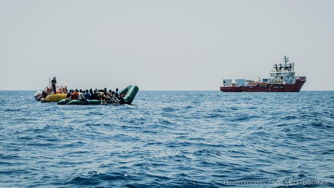 The Ocean Viking rescued 196 migrants  off Libya, the humanitarian ship's operator said. (Twitter/Flavio Gasperini/SOS Mediterranee)