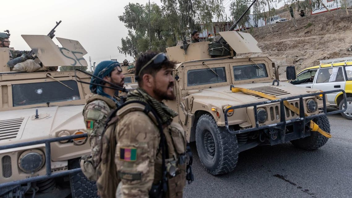 A convoy of Afghan Special Forces is seen during the rescue mission of a policeman besieged at a check post surrounded by Taliban, in Kandahar province, Afghanistan, July 13, 2021. (Reuters)
