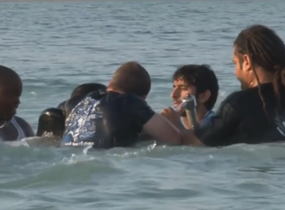 Screengrab from a viral video appearing to show Dubai's crown prince helping to rescue a drowning friend. (Instagram)