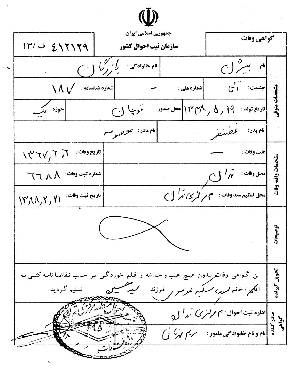 شهادة وفاة بارزكان