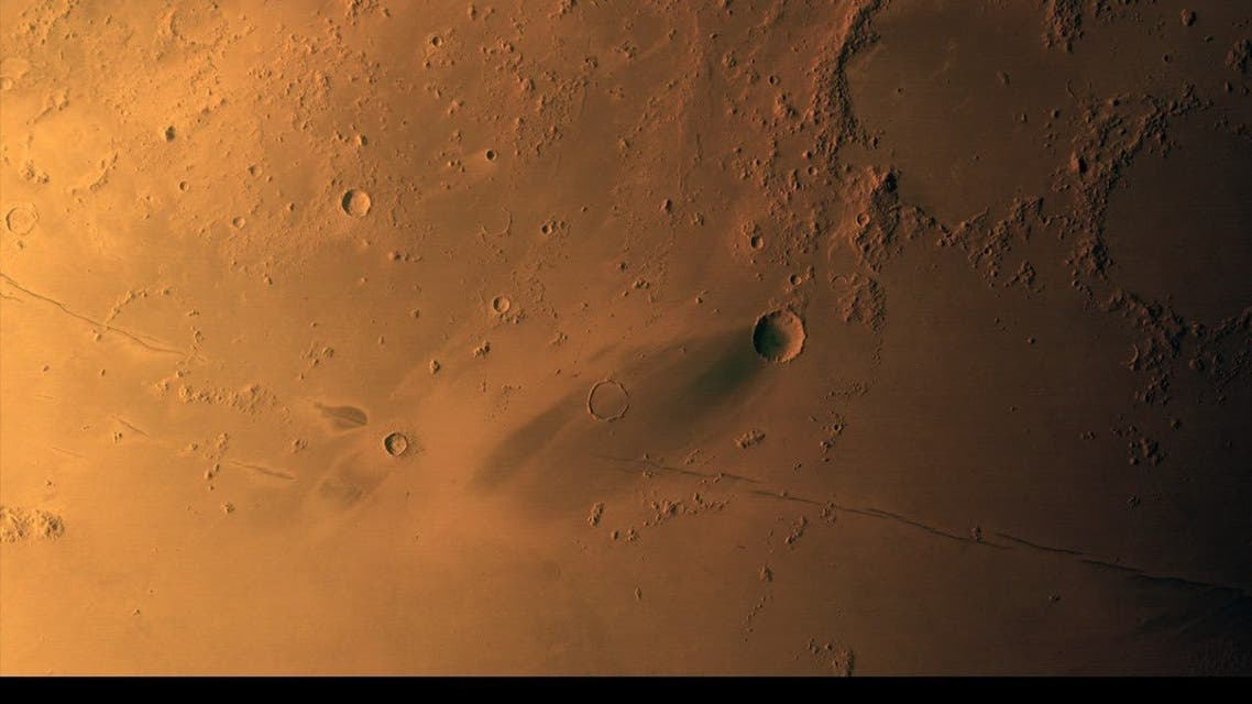 An image obtained by the UAE's Hope Probe Mission to Mars showing the planet's surface viewing Elysium Planitia volcanic region, from an altitude of approximately 1,325km. Picture taken on 15 March 2021, released on August 2, 2021. (Twitter)