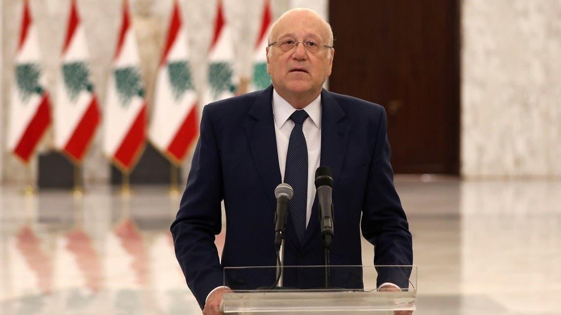 Lebanon's new Prime Minister-Designate Najib Mikati, talks at the presidential palace in Baabda, Lebanon July 26, 2021. (Reuters)