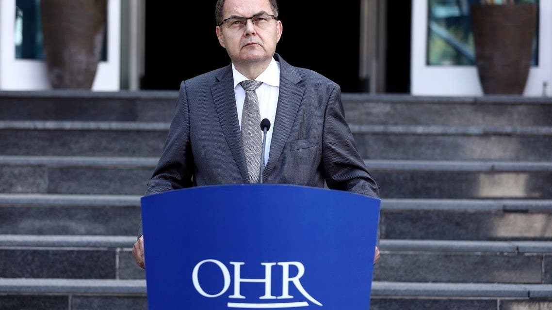 Christian Schmidt, new head of Bosnia's Office of the High Representative, speaks during a ceremony in the capital Sarajevo, Bosnia, Aug. 2, 2021.(AP)