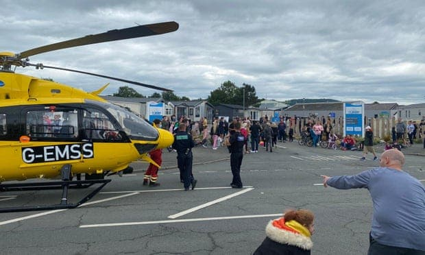 Police, an air ambulance and paramedics at the scene of the crime in Ty Mawr holiday park, North Wales. (Daily Post)