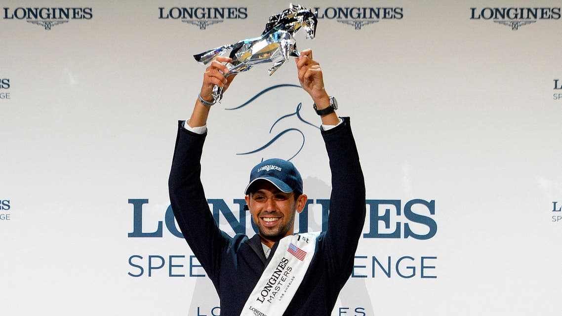 Nayel Nassar of Egypt celebrates after winning the Longines Speed Challenge for the Longines Masters of Los Angeles 2016 at the Long Beach Convention Center on September 30, 2016 in Long Beach, California. (File photo: AFP)