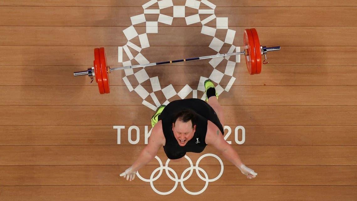 Laurel Hubbard of New Zealand reacts after failing a lift. (Reuters)