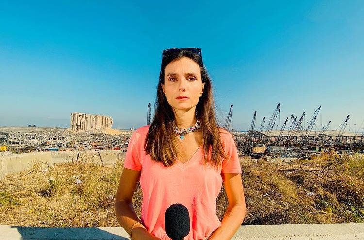 Dalal Mawad reporting from Beirut on the port explosion on September 22, 2020. (Credit: Dalal Mawad)