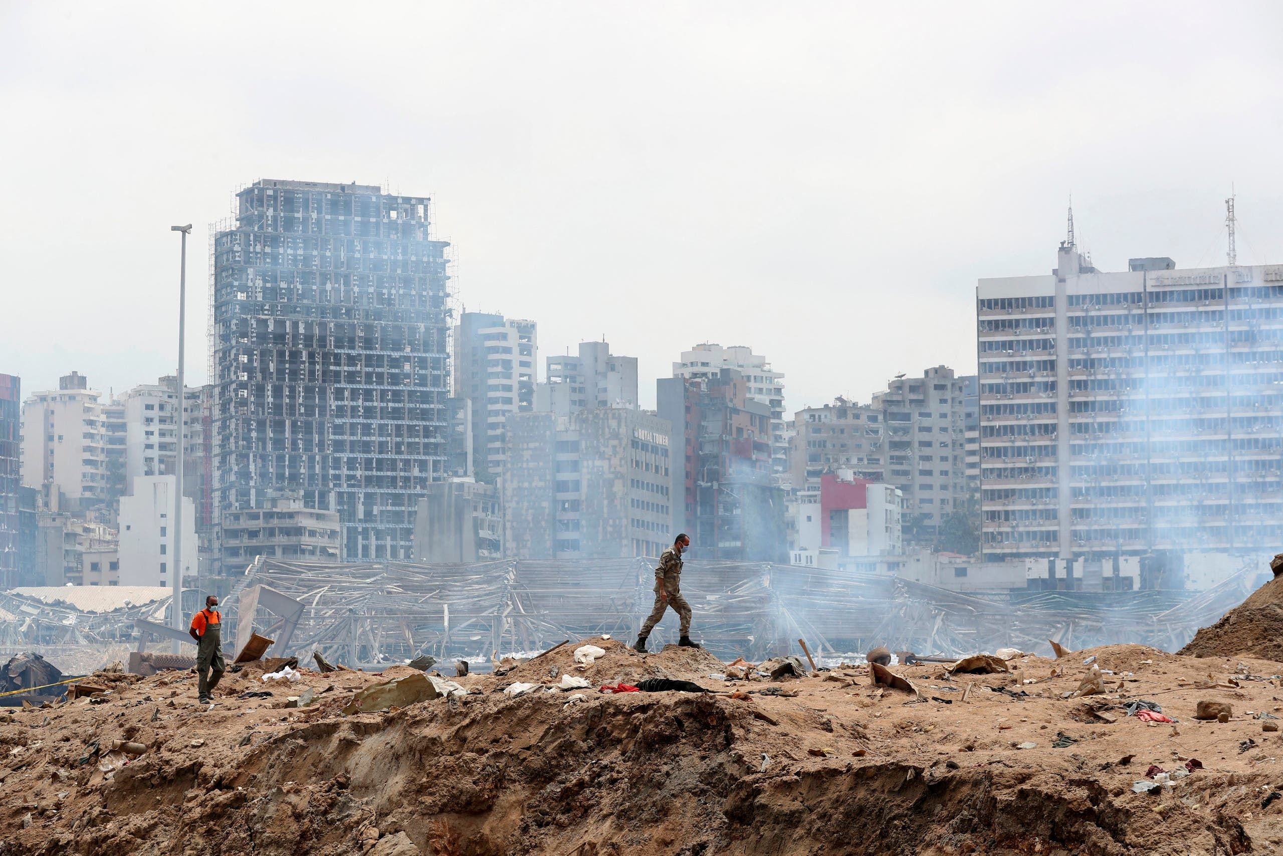 A soldier walks at the devastated site of the explosion in the port of Beirut on August 6, 2020 two days after a massive explosion devastated the Lebanese capital in a disaster that has sparked grief and fury. (File photo: AFP)