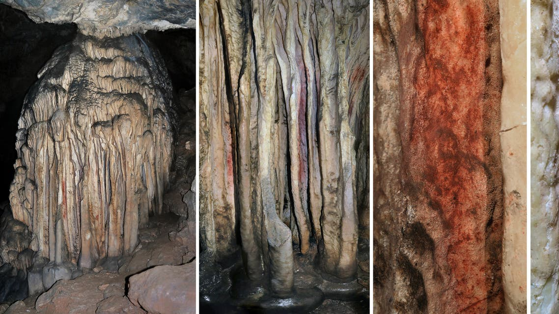 (FILES) In this file photo taken on September 17, 2018 this combination of pictures shows a general view and close-up of a partly coloured stalagmite tower in the Spanish cave of Ardales, southern Spain. Neanderthals, long perceived to have been unsophisticated and brutish, really did paint stalagmites in a Spanish cave more than 60,000 years ago, according to a study published on August 2, 2021.