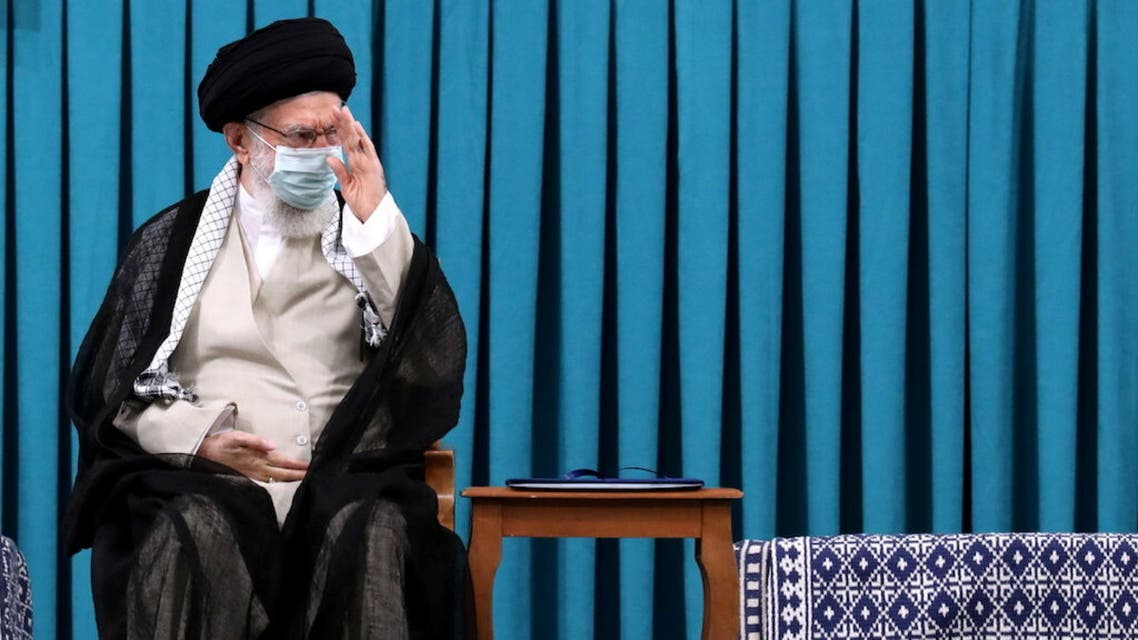 Iran's Supreme Leader Ayatollah Ali Khamenei attends the inauguration ceremony of Iran's new President-elect Ebrahim Raisi, in Tehran, Iran August 3, 2021. The Official Khamenei Website/Handout via REUTERS ATTENTION EDITORS - THIS IMAGE WAS PROVIDED BY A THIRD PARTY. NO RESALES. NO ARCHIVES.