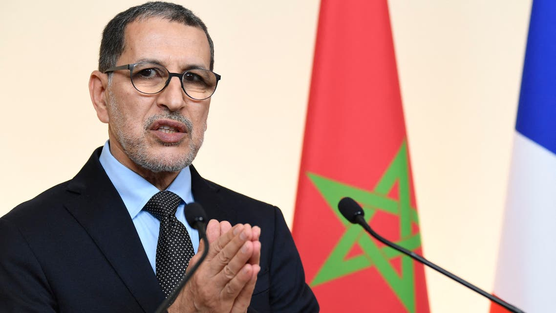 Morocco's Prime Minister Saad-Eddine El Othmani gives a joint press conference with his French counterpart following a Plenary Meeting of the High Level Meeting with a Moroccan delegation at the Hotel de Matignon, the French prime minister's residence, in Paris on December 19, 2019.