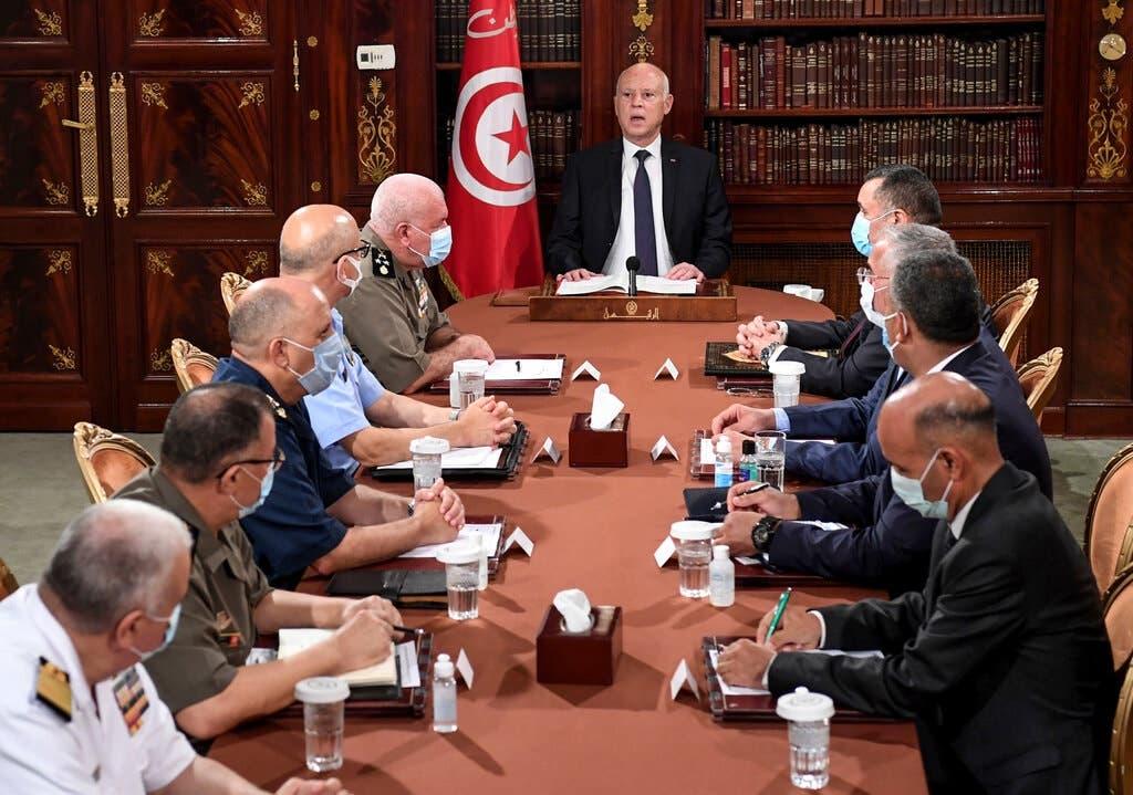 قیس سعید رئیس جمهور تونس در دیدار با رهبران امنیتی و نظامی