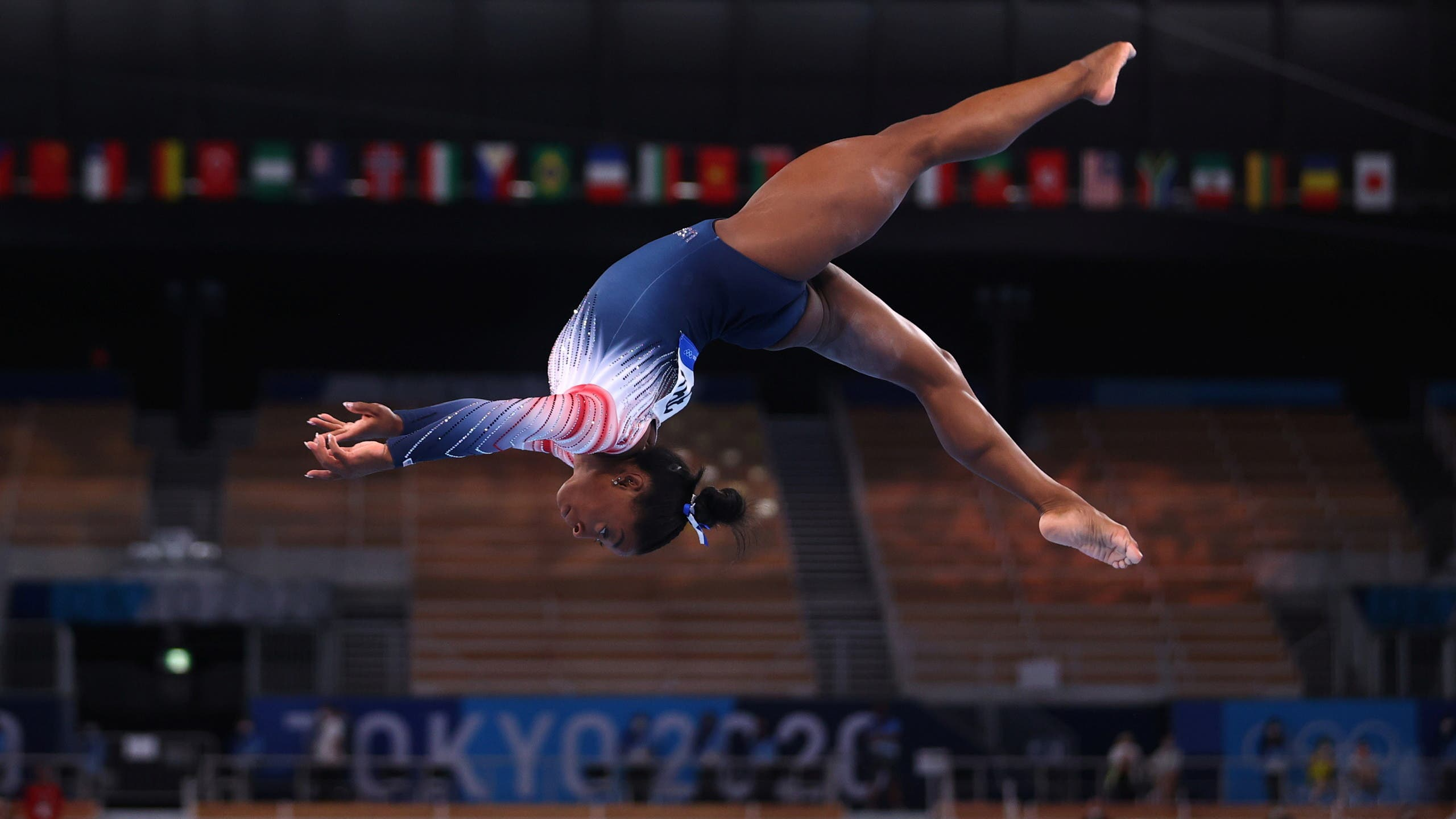 Simone Biles of the United States in action on the balance beam. (Reuters)