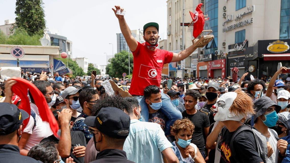 من احتجاجات تونس المؤيدة لقيس سعيد