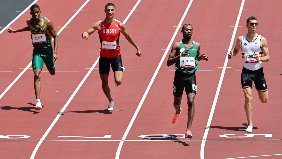 Saudi Arabia's Mazen Moutan Al Yassin (2R) crosses the finish line to win ahead of second-placed Belgium's Kevin Borlee (R), third-placed Switzerland's Ricky Petrucciani (2L) and South Africa's Zakithi Nene in the men's 400m heats during the Tokyo 2020 Olympic Games at the Olympic Stadium in Tokyo on August 1, 2021. (File photo: AFP)