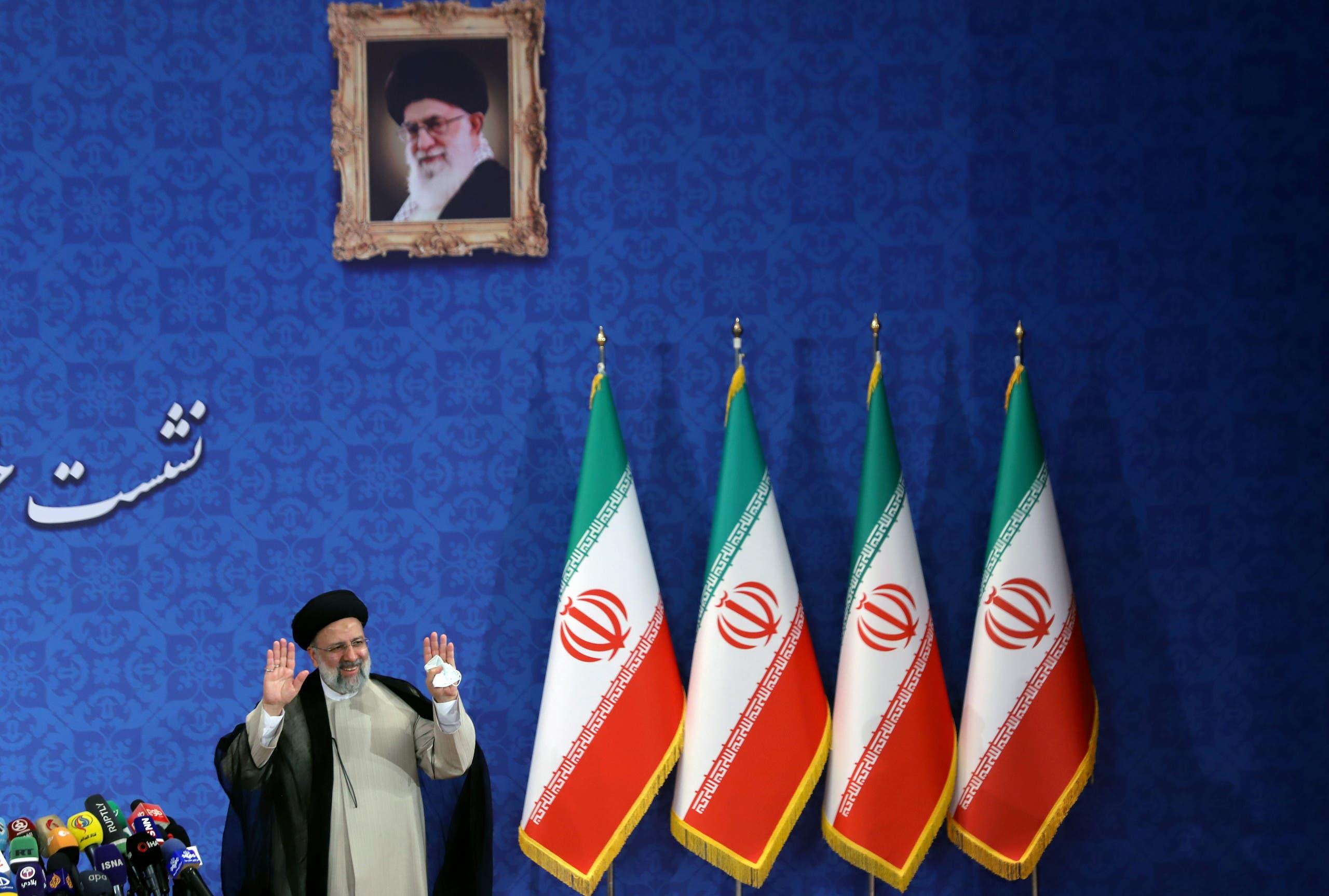 Iran's President-elect Ebrahim Raisi attends a news conference in Tehran, Iran June 21, 2021. (Reuters)