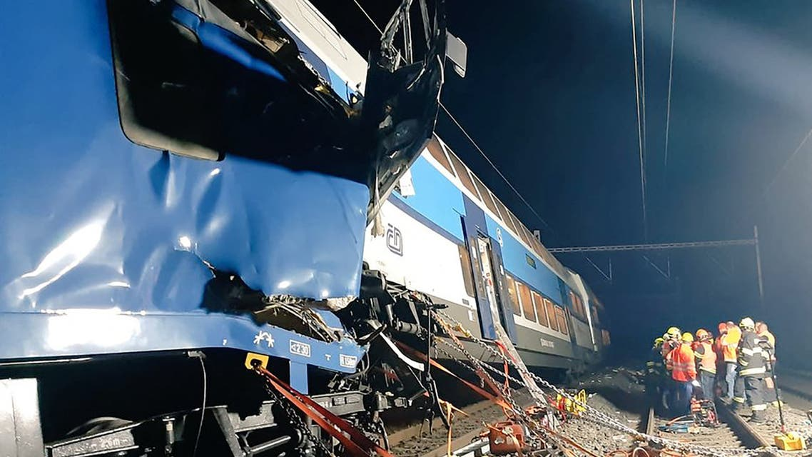 This handout photo released by Police CR on July 14, 2020 shows rescuers working next to trains damaged after a collision near the city of Cesky Brod, Czech Republic. (File photo: AFP)