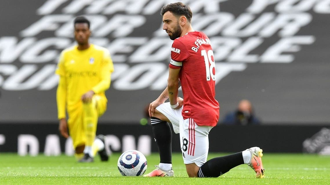 Manchester United's Bruno Fernandes kneels in support of the Black Lives Matter campaign before the match. (File Photo: Reuters)