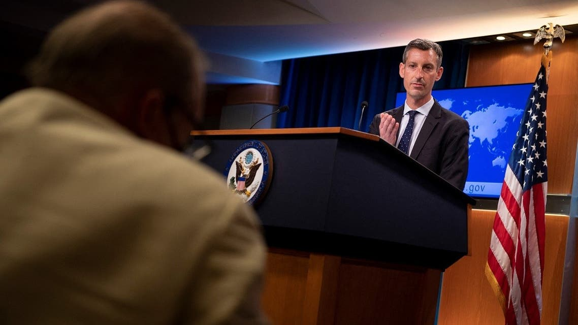 In this file photo taken on August 02, 2021 State Department spokesperson Ned Price speaks during a briefing at the State Department in Washington, DC. (Brendan Smialowski/AFP)
