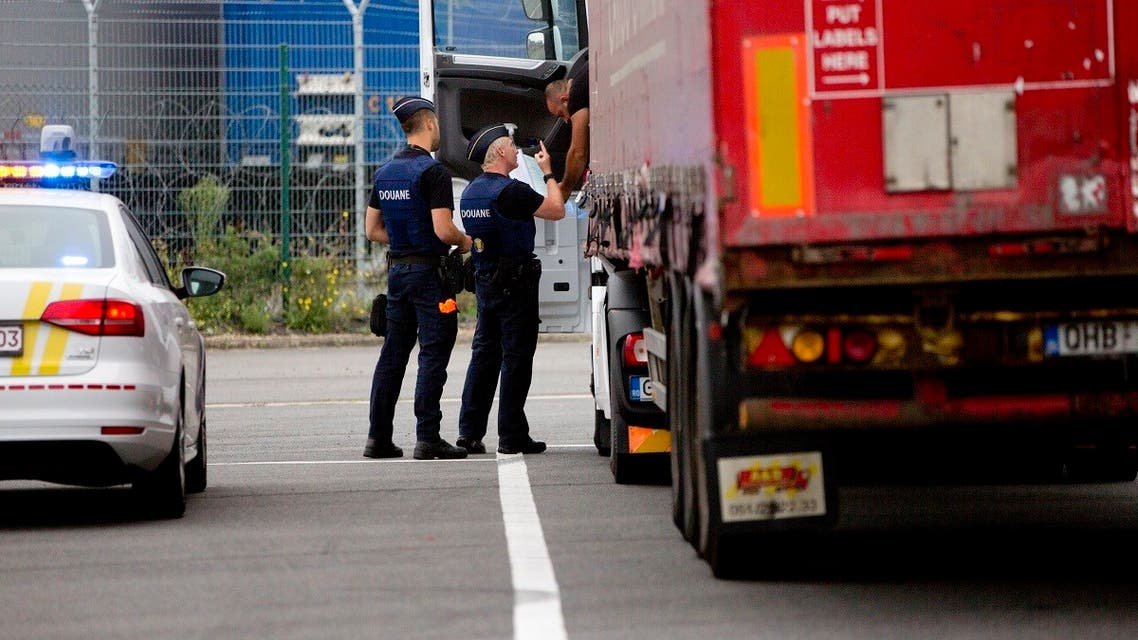 In this file photo taken on August 21, 2018, a truck is checked by customs officers at a checkpoint in the Port of Zeebrugge, Belgium. (AP/Virginia Mayo)