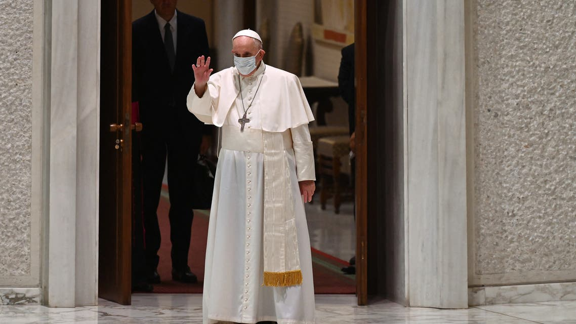 Pope Francis gestures during his weekly general audience at Paul VI hall in The Vatican on August 4, 2021.
