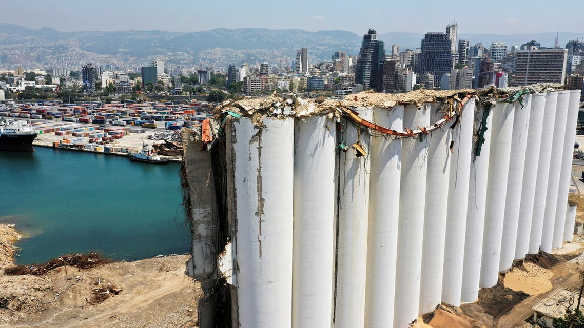 A picture taken with a drone shows a general view of the grain silo that was damaged during Aug. 4, 2020 explosion in Beirut's port, after almost one year since the blast, Lebanon August 2, 2021. Picture taken August 2, 2021. REUTERS/Imad Creidi NO ARCHIVES. NO RESALES.