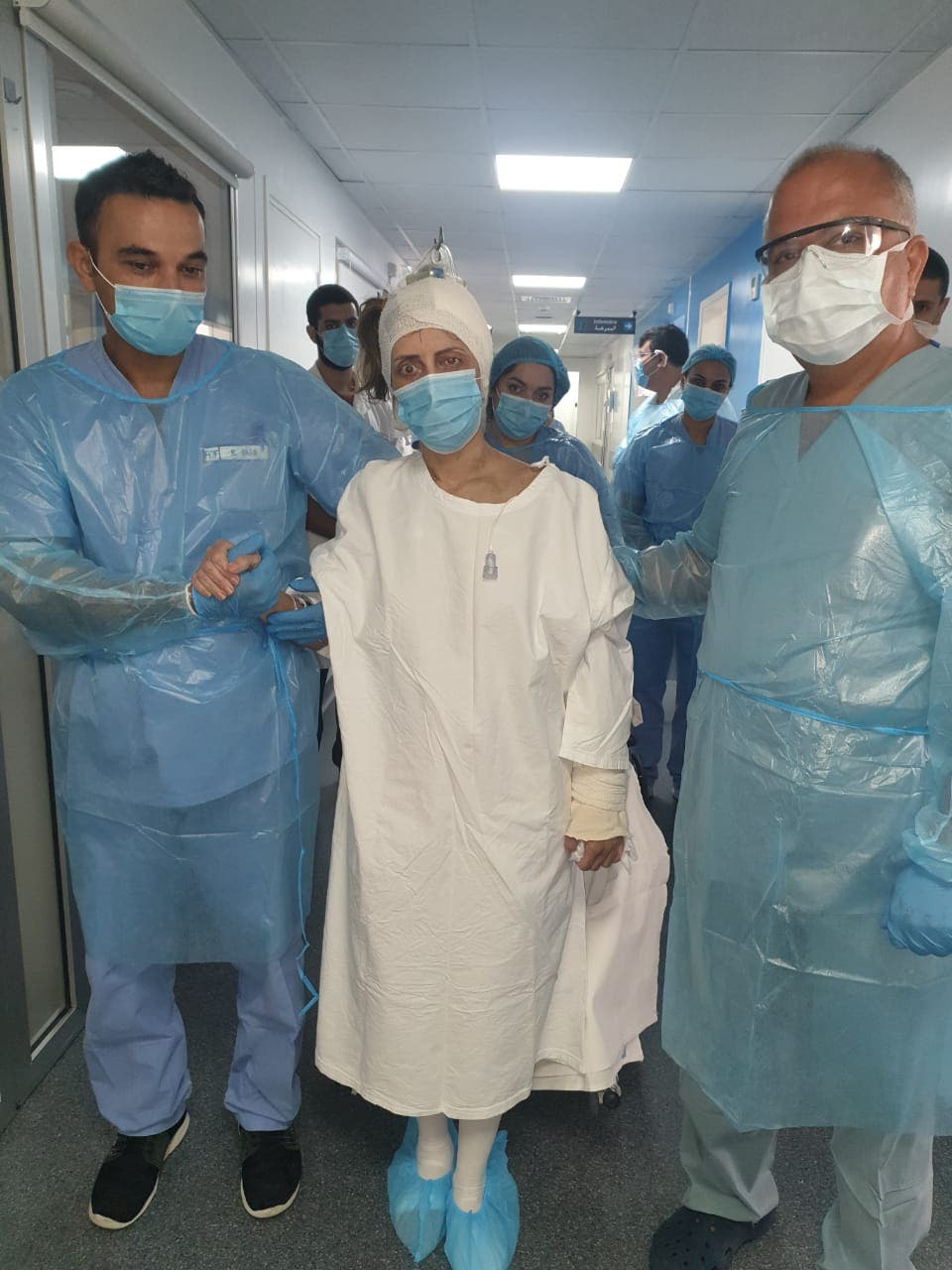 Rita Freiha Khoury, a Beirut blast victim, in the hospital (Supplied)