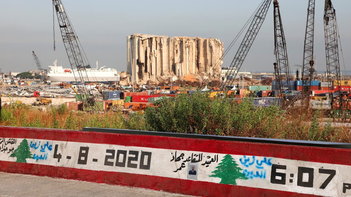 A view shows the grain silo that was damaged during last year's Beirut port blast, as Lebanon marks the one-year anniversary of Beirut port explosion, in Beirut, Lebanon August 4, 2021. (Reuters)