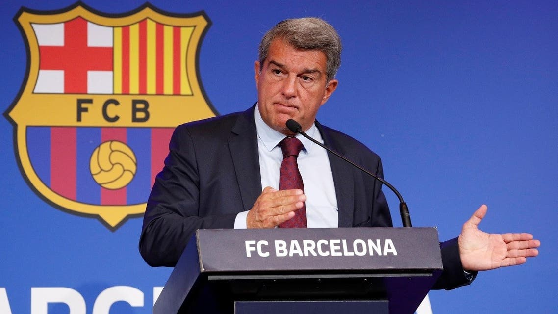FC Barcelona president Joan Laporta during the press conference in Barcelona, Spain, on Agust 6, 2021. (Reuters)