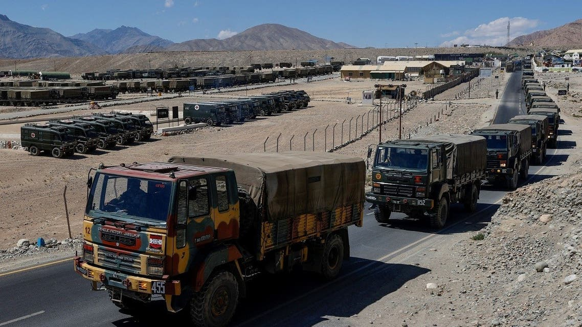 Military trucks carrying supplies move towards forward areas in the Ladakh region, on September 15, 2020. (Reuters)