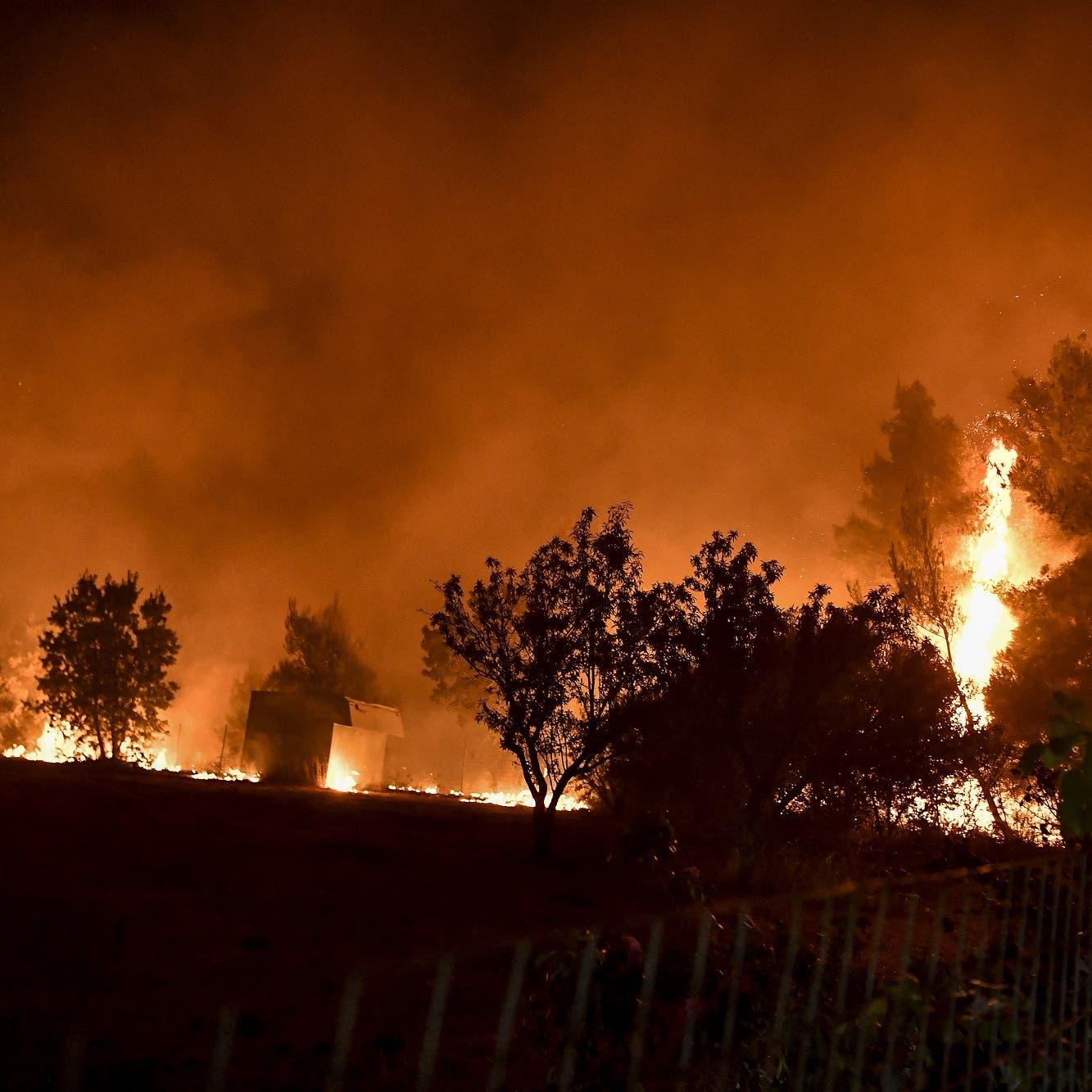 صور صادمة.. الحرائق تستعر من جديد شمال أثينا