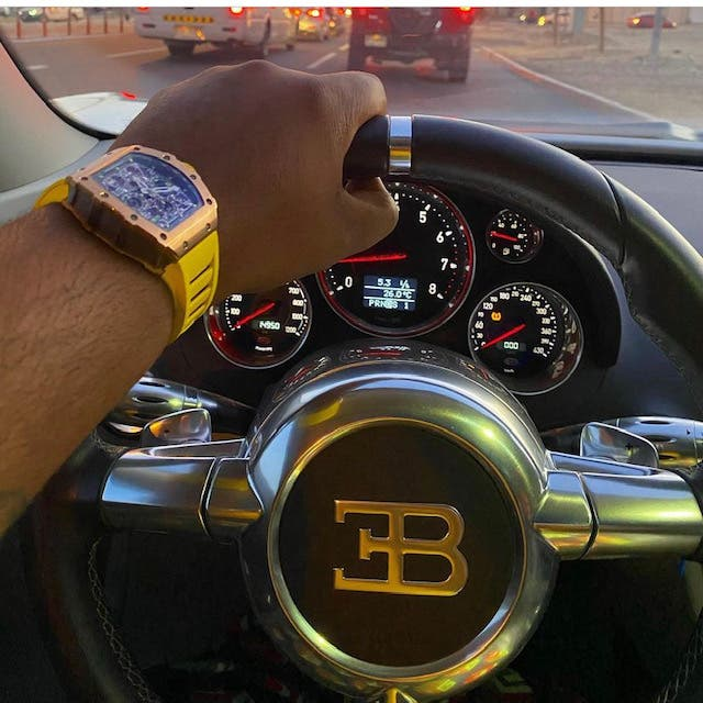 About $230,000 of the stolen funds allegedly were used to purchase a luxury Richard Mille watch, seen here in a post by 'Ray Hushpuppi' on his Instagram account.