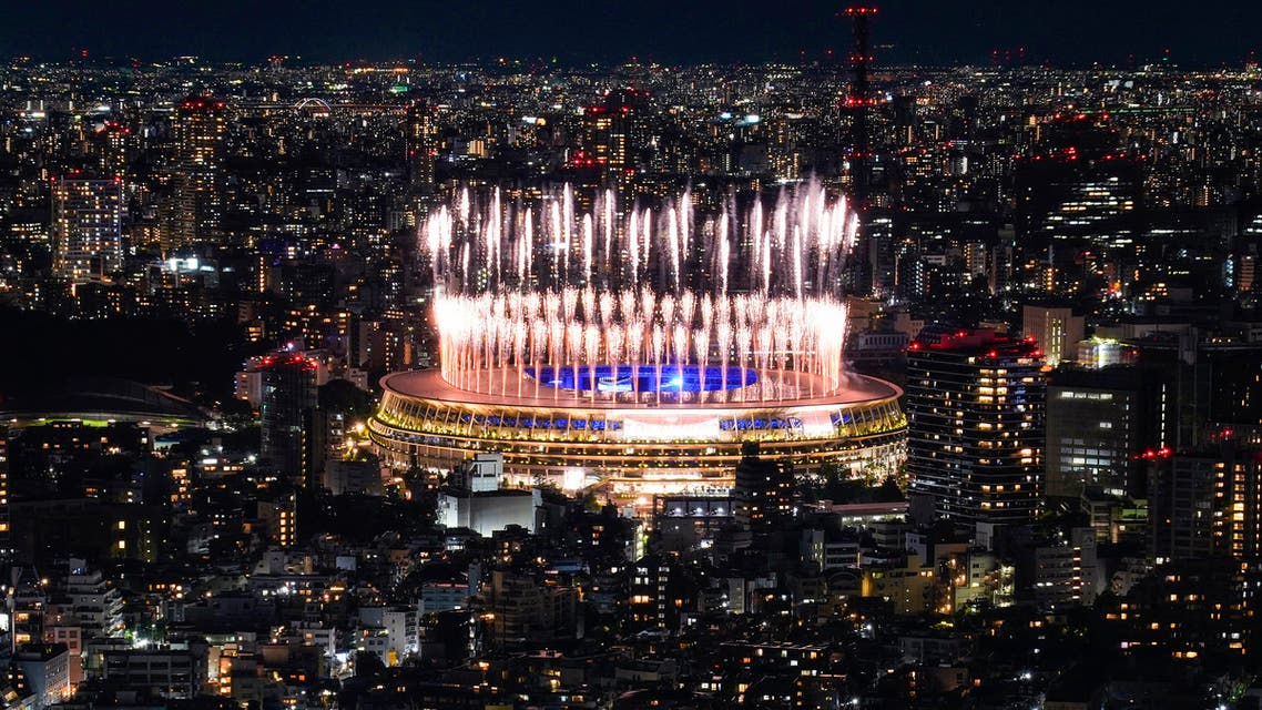Fireworks illuminate over National Stadium during the closing ceremony of the 2020 Tokyo Olympics, Sunday, Aug. 8, 2021, in Tokyo. (AP)