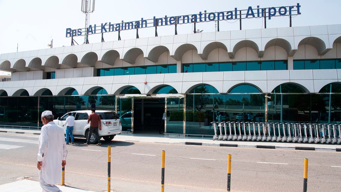 A man walks past the Ras al-Khaimah International Airport in Ras al-Khaimah, United Arab Emirates, Wednesday, Oct. 23, 2019. (AP)