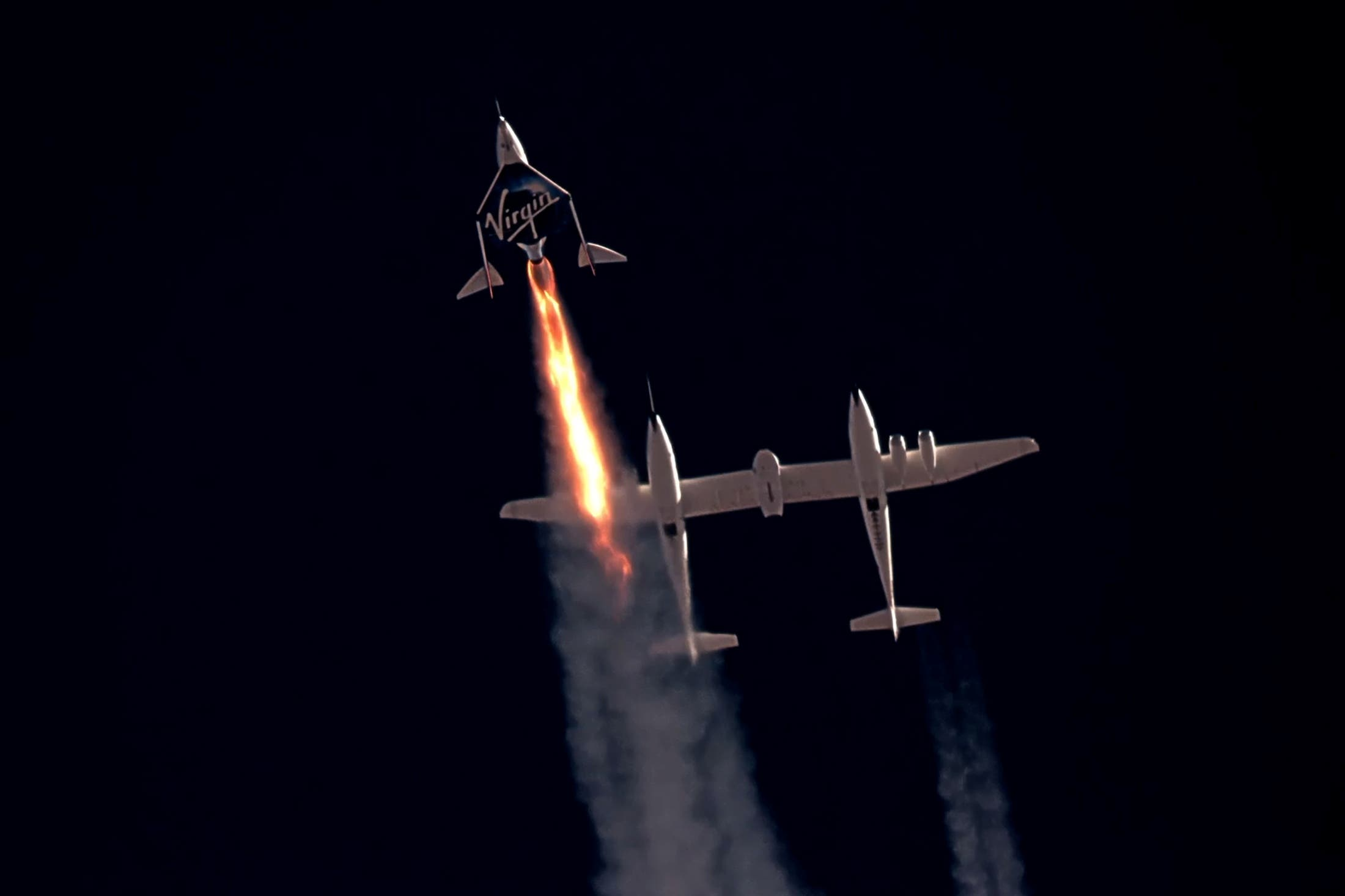 Virgin Galactic's passenger rocket plane VSS Unity, carrying Richard Branson and crew, begins its ascent to the edge of space above Spaceport America near Truth or Consequences, New Mexico, US July 11, 2021 in a still image from video. (File photo: Reuters)