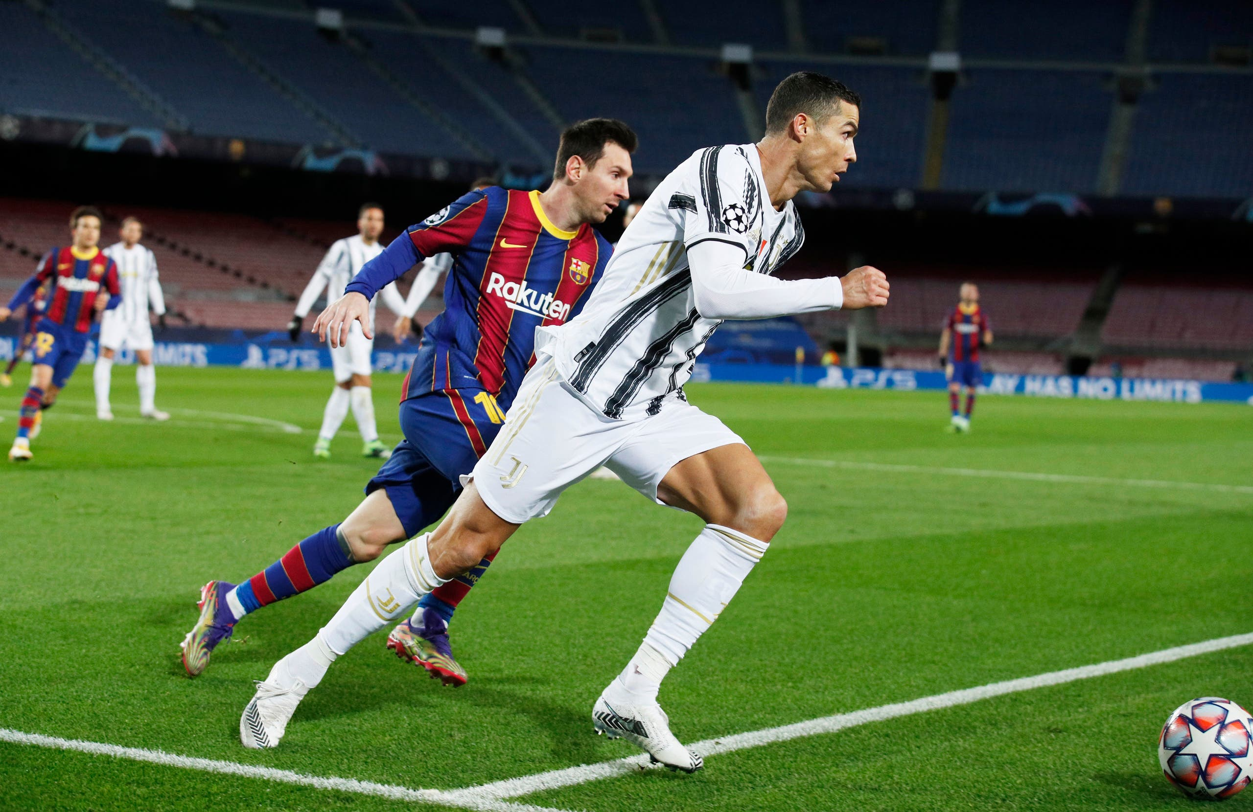 Soccer Football - Champions League - Group G - FC Barcelona v Juventus - Camp Nou, Barcelona, Spain - December 8, 2020 FC Barcelona's Lionel Messi in action with Juventus' Cristiano Ronaldo. (File photo: Reuters)