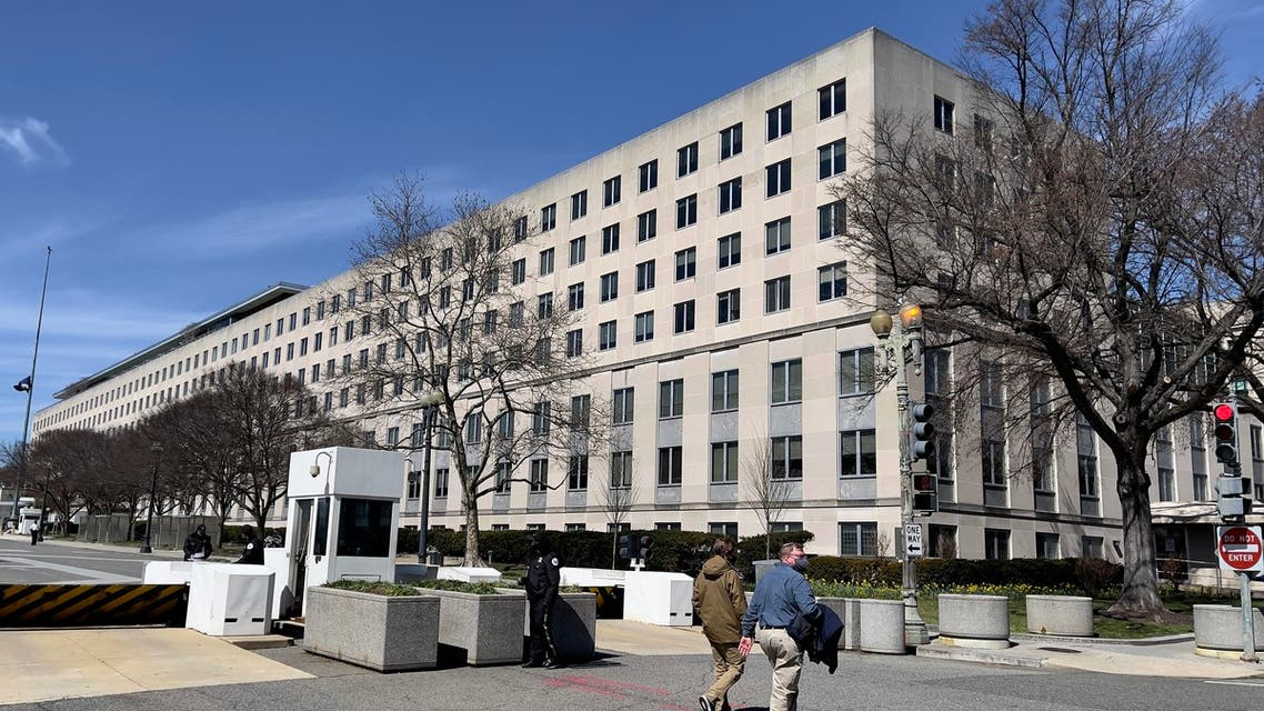 (FILES) In this file photo taken on March 19, 2021 the State department building is seen in Washington, DC. The US government is looking into what happened to a $5,800 bottle of whiskey given by Japan to former secretary of state Mike Pompeo but which is now apparently missing, US media reported August 4, 2021.