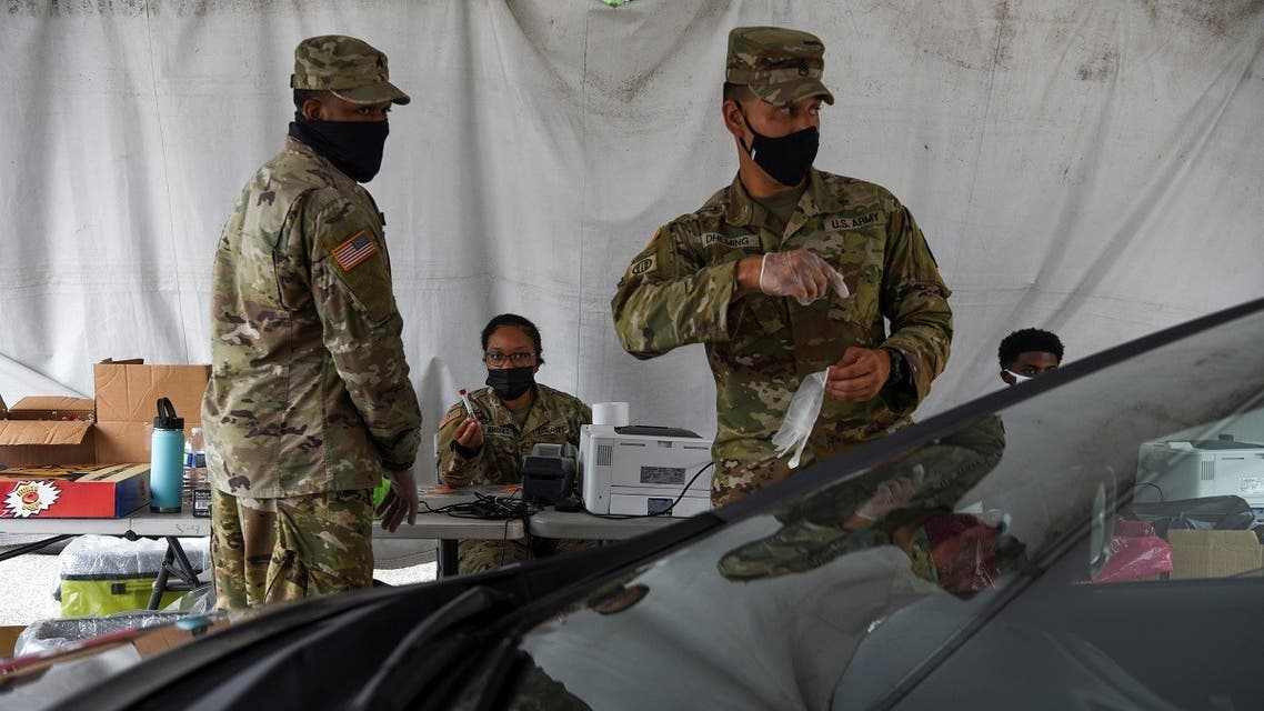 Members of the US Army operate a testing site as cases of the coronavirus disease surge across the state, in New Orleans, Louisiana, Aug. 6, 2021. (Reuters)