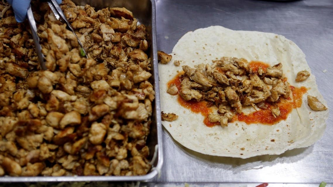 Grilled chicken is seen on a sandwich at a restaurant in Beirut, Lebanon July 27, 2017. (Reuters)
