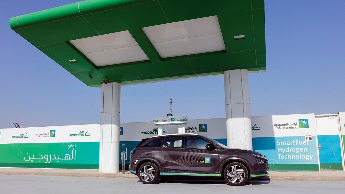 A Hydrogen powered car refuels at Hydrogen refuelling station during Saudi Aramco's media trip to demonstrate Hydrogen automotive technology at Techno Valley Science Park in Dhahran, Saudi Arabia, on June 27, 2021. (Reuters)
