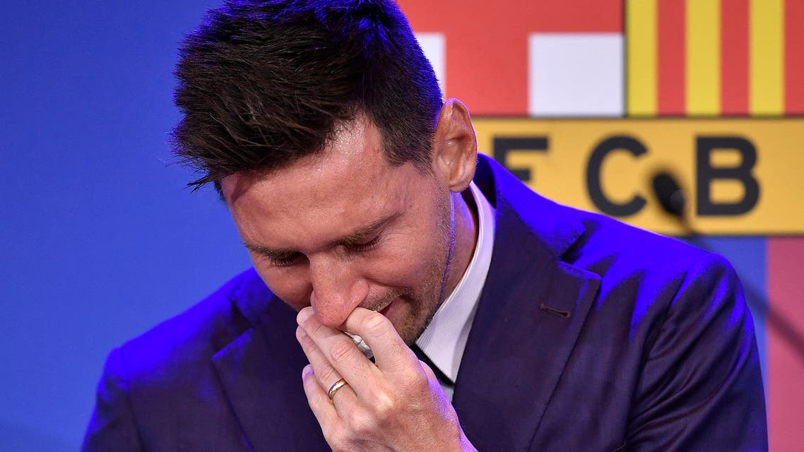 Barcelona's Argentinian forward Lionel Messi cries during a press conference at the Camp Nou stadium in Barcelona on August 8, 2021. (File photo: AFP)