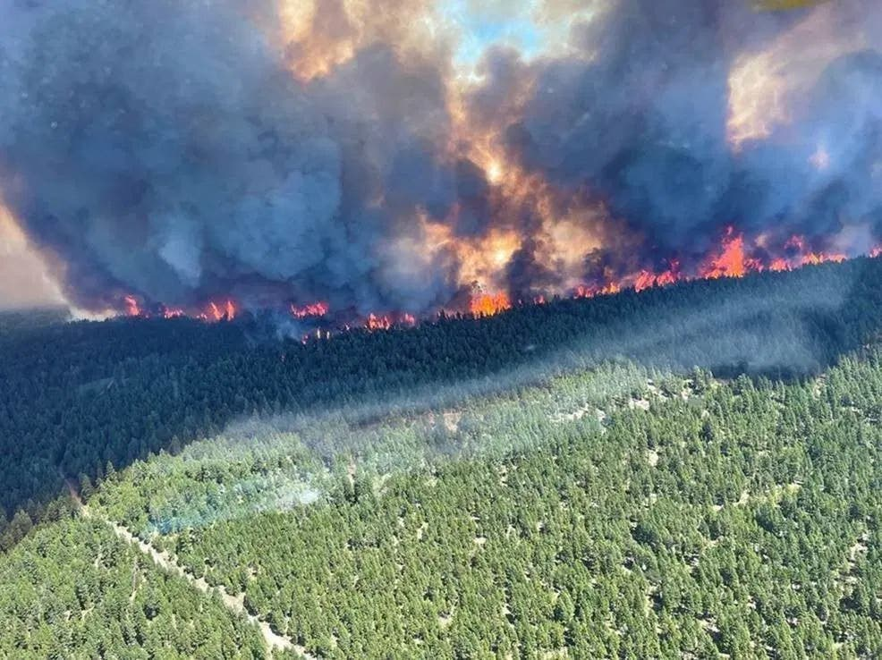 This handout photo courtesy of BC Wildfire Service shows the Sparks Lake wildfire, British Columbia, seen from the air on June 29, 2021. (AFP)