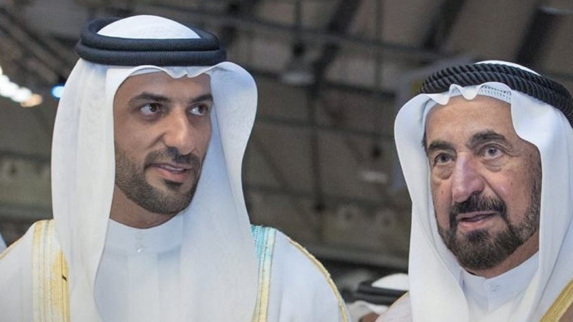 Sharjah's deputy ruler, Sheikh Sultan bin Ahmed al-Qasimi (left) with the emirate's current ruler Sheikh Sultan bin Mohammed al-Qasimi (right). (Twitter)