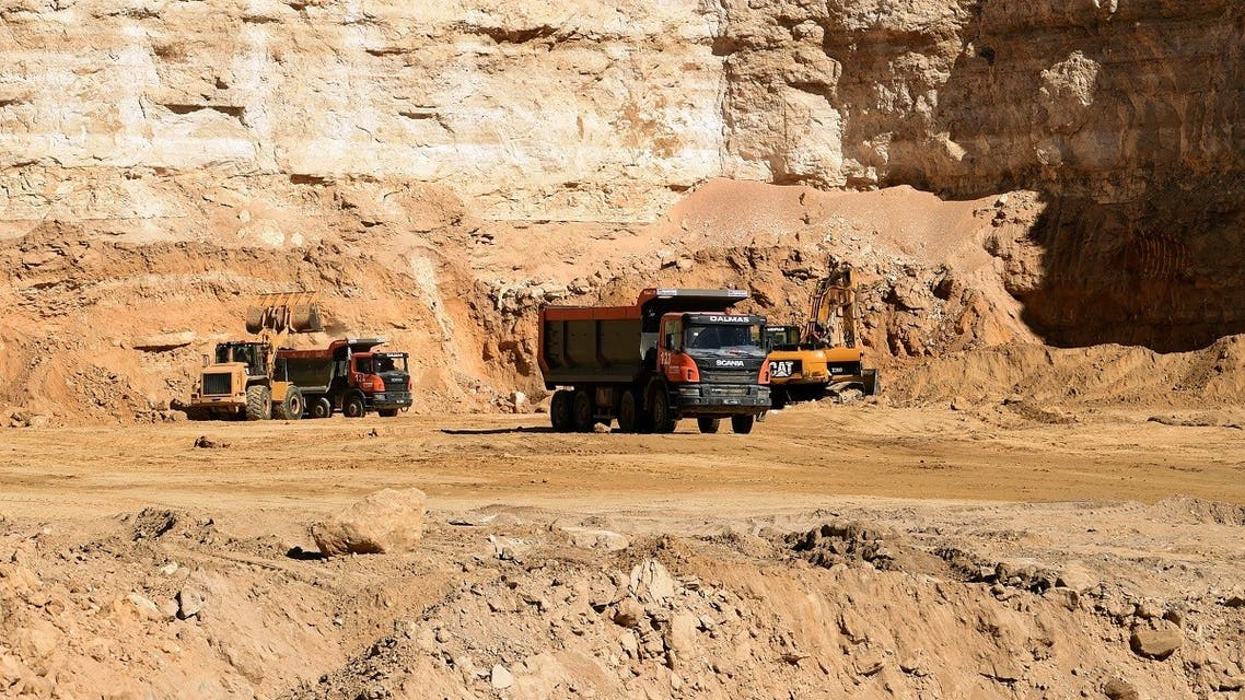 A view of the phosphate production at the Mdhila mine, south of Gafsa, one of the main mining sites in central Tunisia, after workers restarted production after a month-long strike, on March 9, 2018. (AFP)