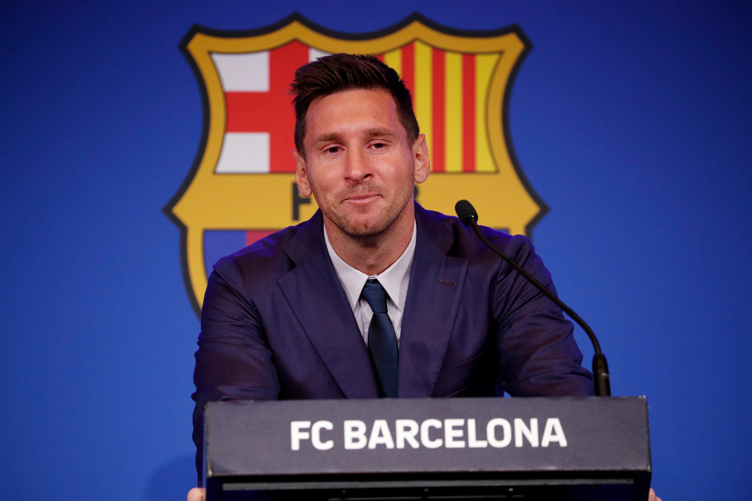 Soccer Football - Lionel Messi holds an FC Barcelona press conference - 1899 Auditorium, Camp Nou, Barcelona, Spain - August 8, 2021 Lionel Messi during the press conference (Reuters)