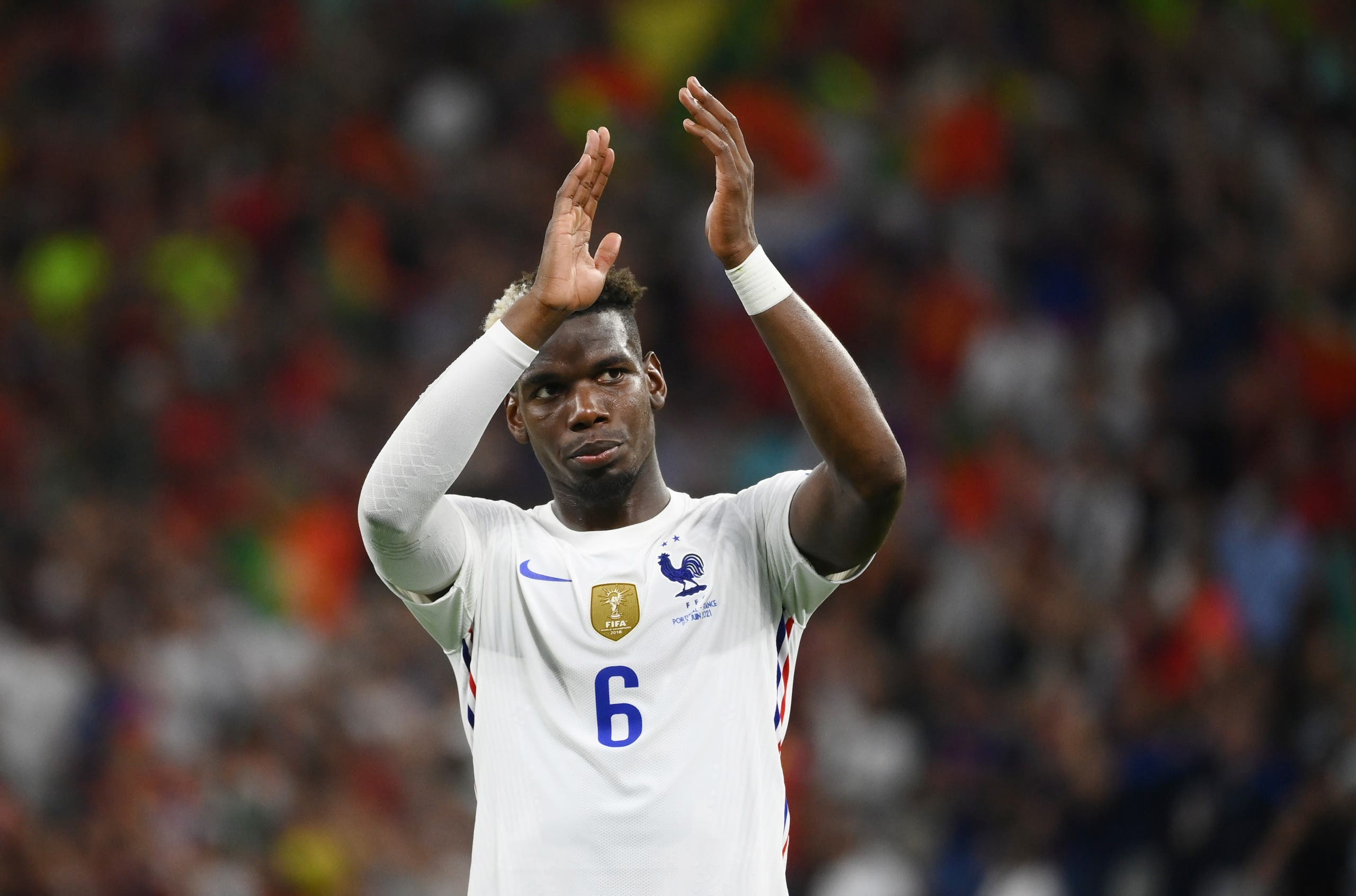 Soccer Football - Euro 2020 - Group F - Portugal v France - Puskas Arena, Budapest, Hungary - June 23, 2021 France's Paul Pogba applauds the fans after the match. (Reuters)