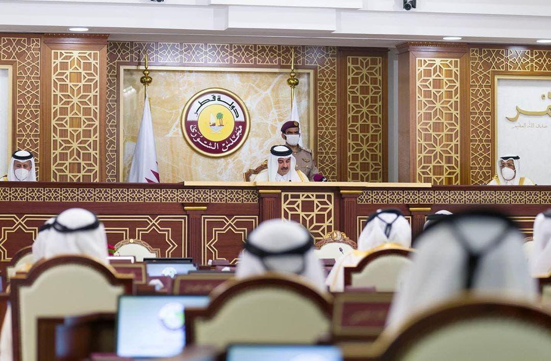 Qatar's ruler, Emir Sheikh Tamim bin Hamad al-Thani, gives a speech to the Shura Council in Doha, Qatar, November 3, 2020. (File photo: Reuters)