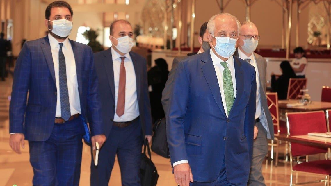 US peace envoy for Afghanistan Zalmay Khalilzad arrives for talks in Doha, Qatar, on August 10, 2021. (AP)