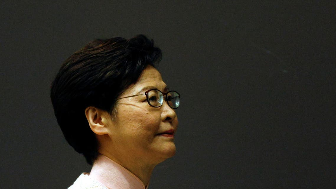 Hong Kong Chief Executive Carrie Lam attends a news conference to announce the replacement of the Police Chief and Security Secretary, in Hong Kong, China June 25, 2021. (Reuters)