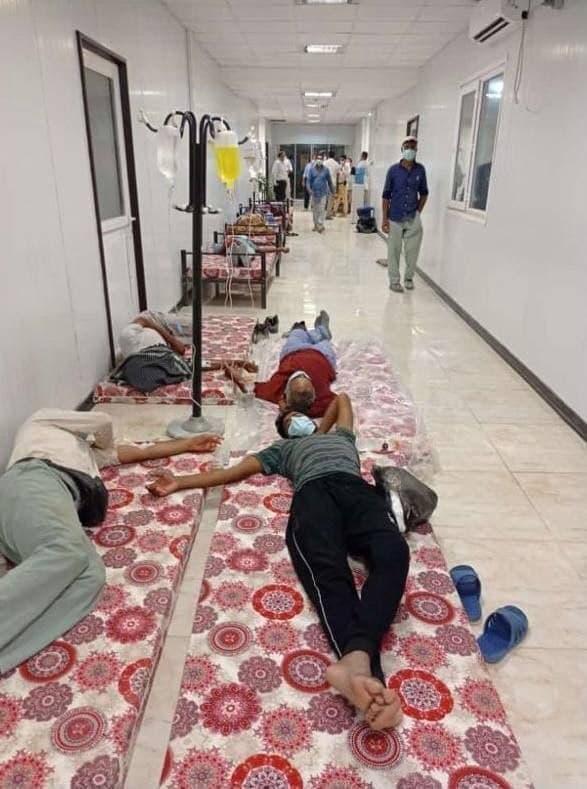 پذیرش بیماران کرونایی کف زمین بیمارستان